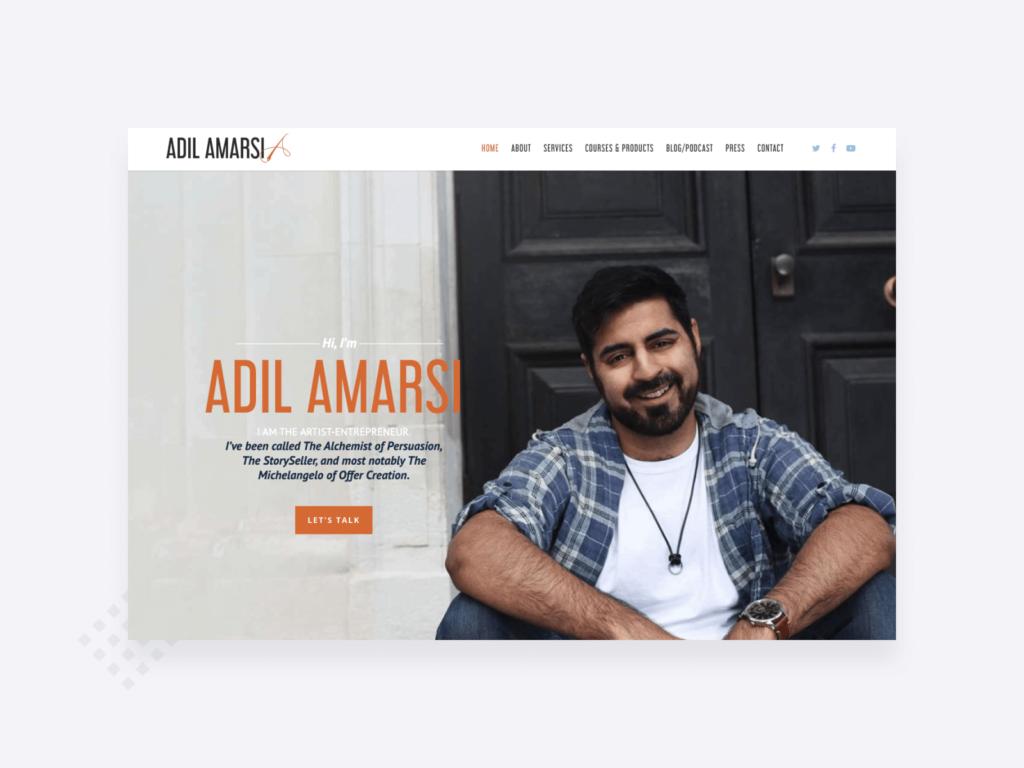 Screenshot of the homepage of Adil Amarsi's freelance writer website