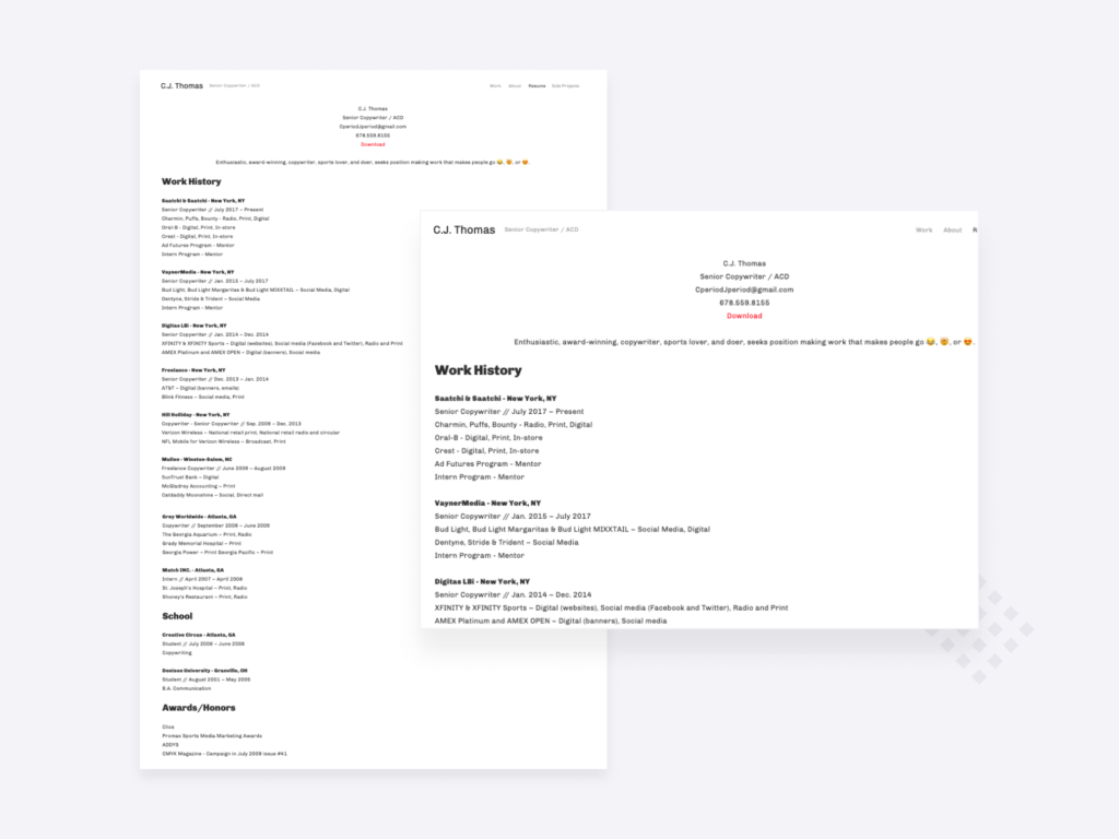 screenshot of the copywriter resume of C.J. Thomas, senior copywriter at Saatchi and Saatchi