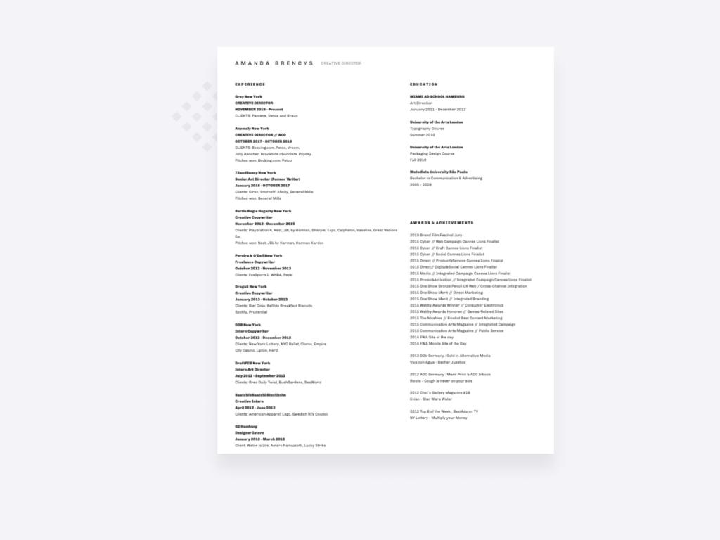 screenshot of the copywriter resume of Amanda Brencys, creative director at Grey New York
