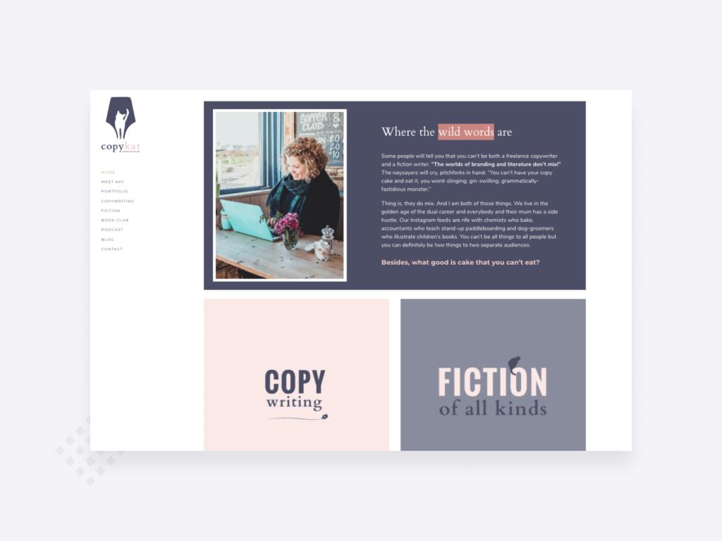 Copywriting portfolio example: a screenshot of the homepage of CopyKat's copywriter website