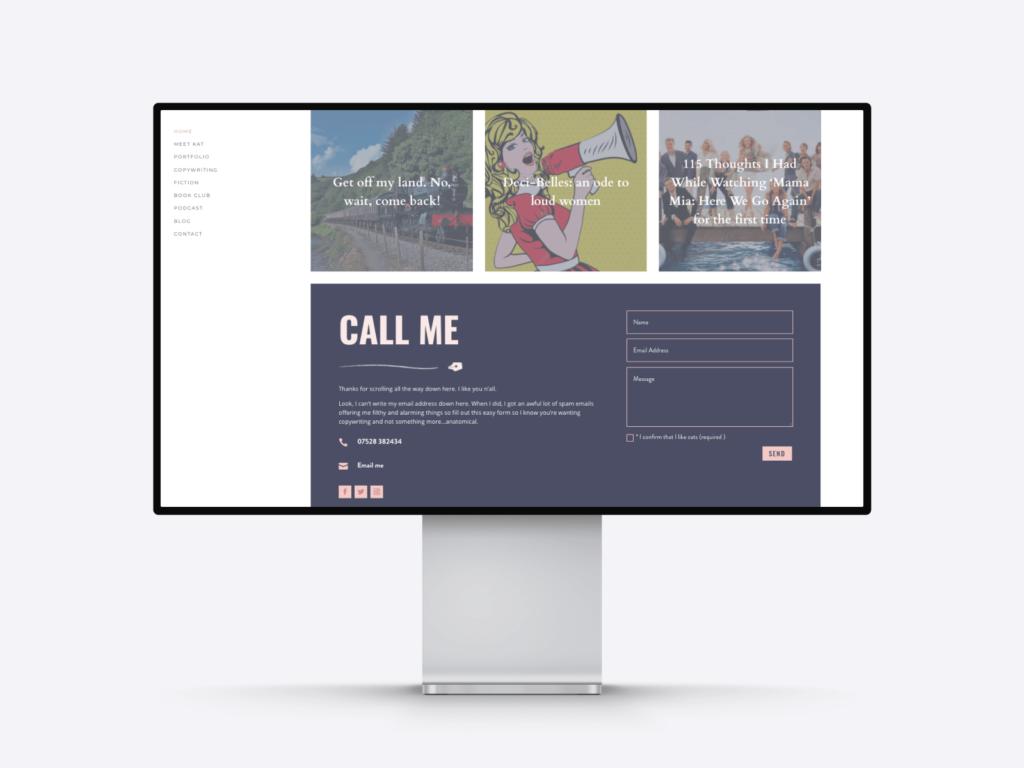 A screenshot of CopyCat's copywriter portfolio homepage with a contact form