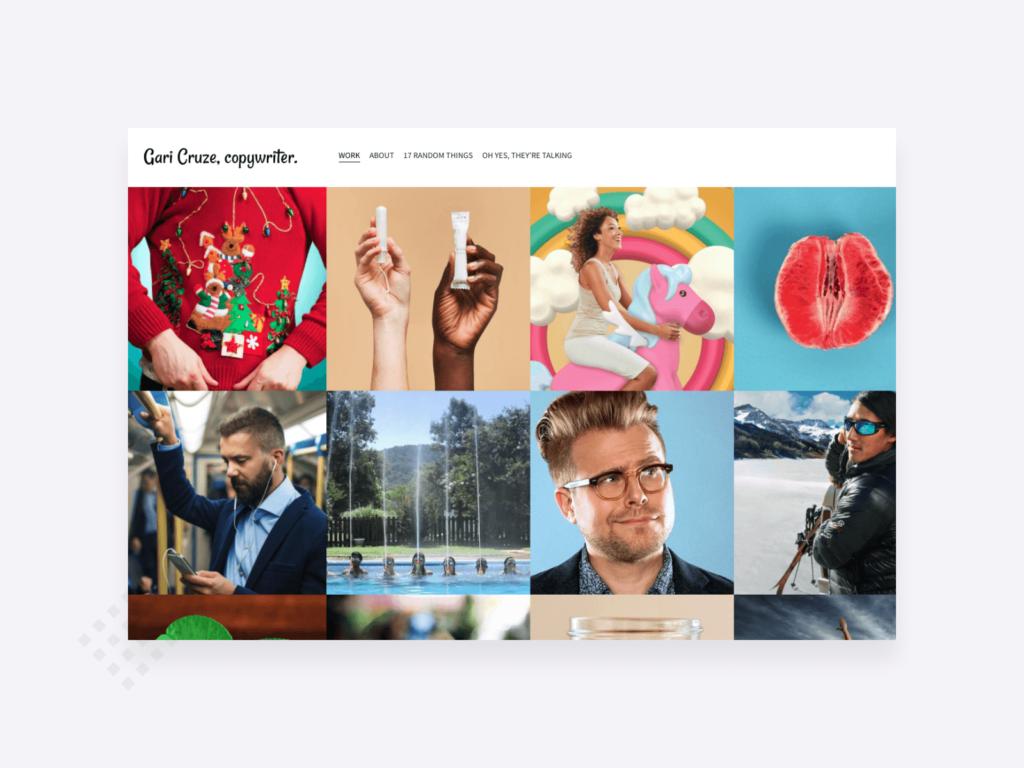 Copywriting portfolio example: a screenshot of the homepage of Gari Cruz copywriter's website