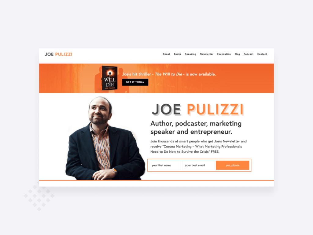 screenshot of Joe Pulizzi's freelance writer website