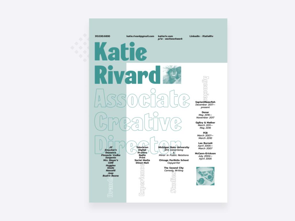 screenshot of the copywriter resume of Katie Rivard, associate creative director at SapientRazorfish
