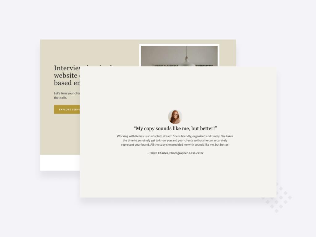 Copywriting portfolio example: screenshots of Kelsey O'Halloran's portfolio home page