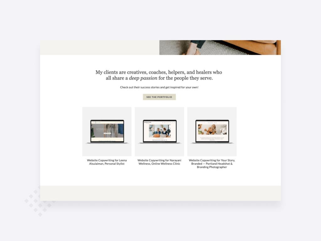 Copywriting portfolio example: screenshot of portfolio homepage showcasing copywriting examples