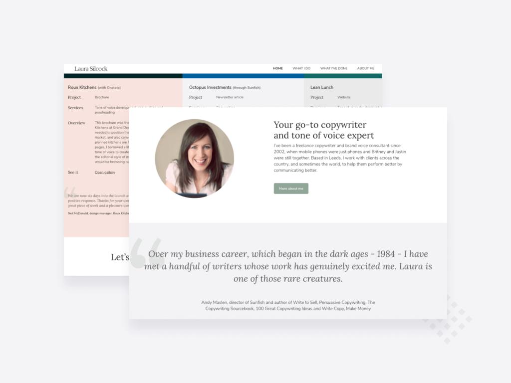 Copywriting portfolio example: screenshots of the homepage of Laura Silcock's portfolio site