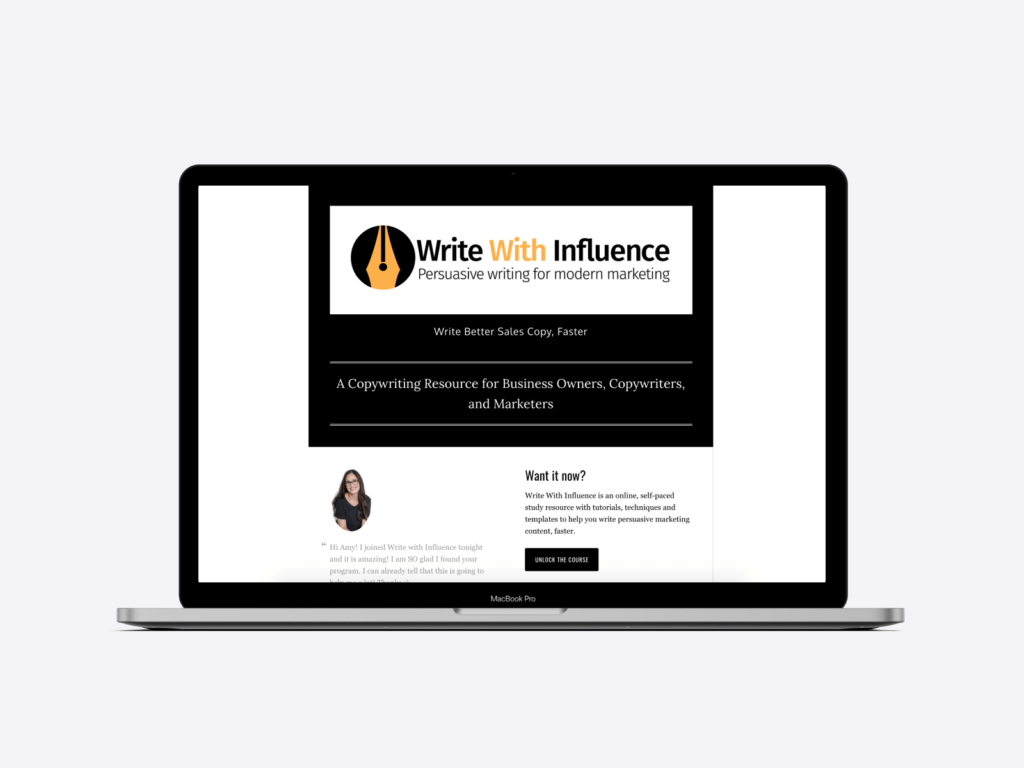 Screenshot of the website of copywriter Amy Harrison's online course: Write With Influence.