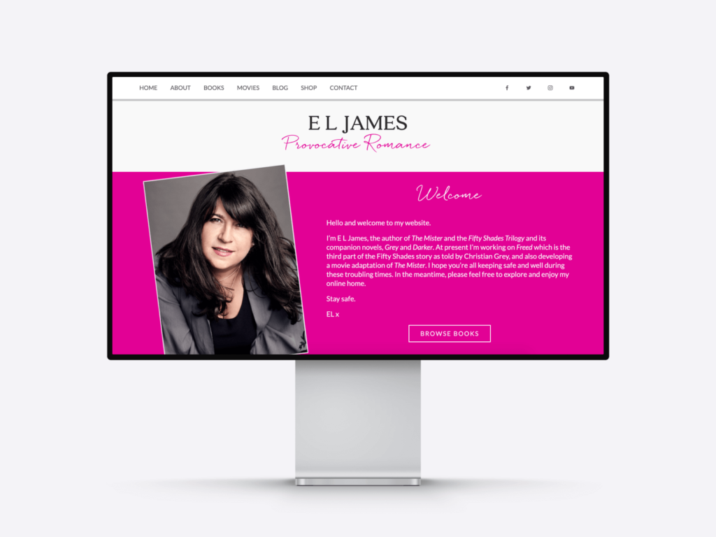 Screenshot of the writing portfolio website of bestselling author E.L. James