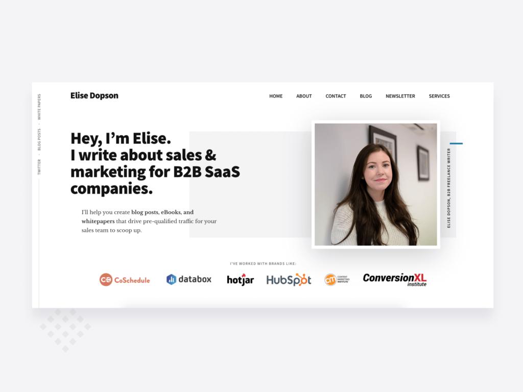 Screenshot of the copywriter website of Elise Dopson