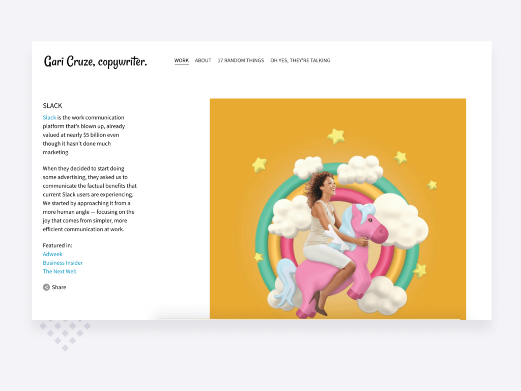 screenshot of a copywriting project in the portfolio of Gari Cruze, associate creative director at HUGE