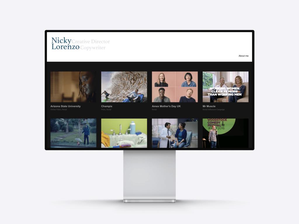 screenshot of the copywriting portfolio website of nicky lorenzo