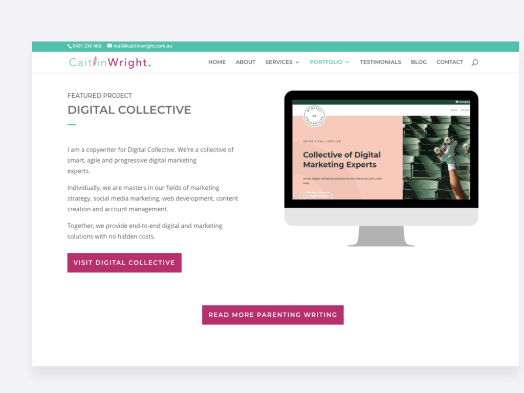 screenshot of caitlin wright's content writing samples page