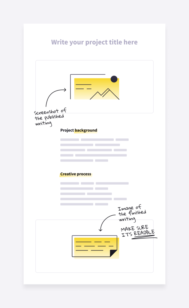 content writing sample template for showing previous writing projects in an online writing portfolio