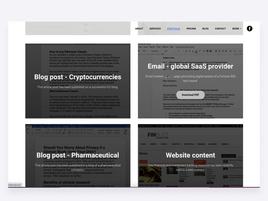 Content writing samples on Julie Gabriel's website, content.world