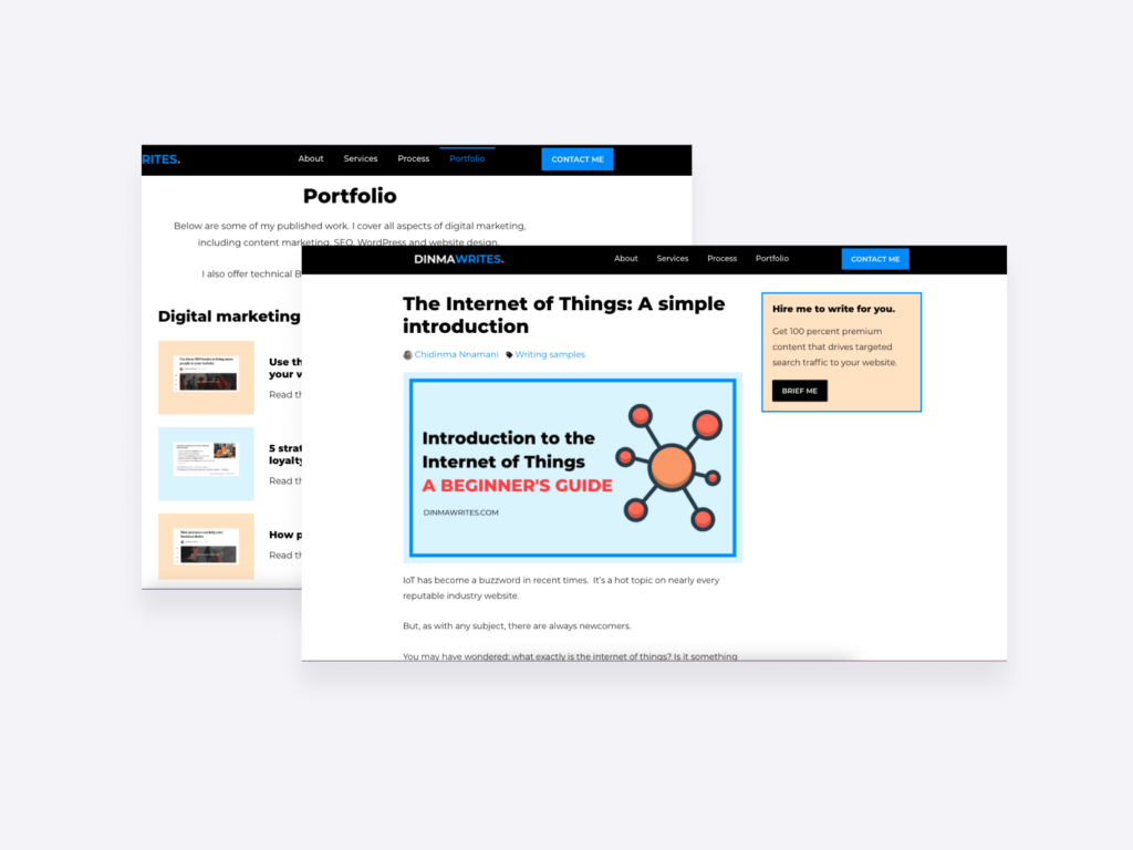content writing samples on the portfolio page of Dinma Writes