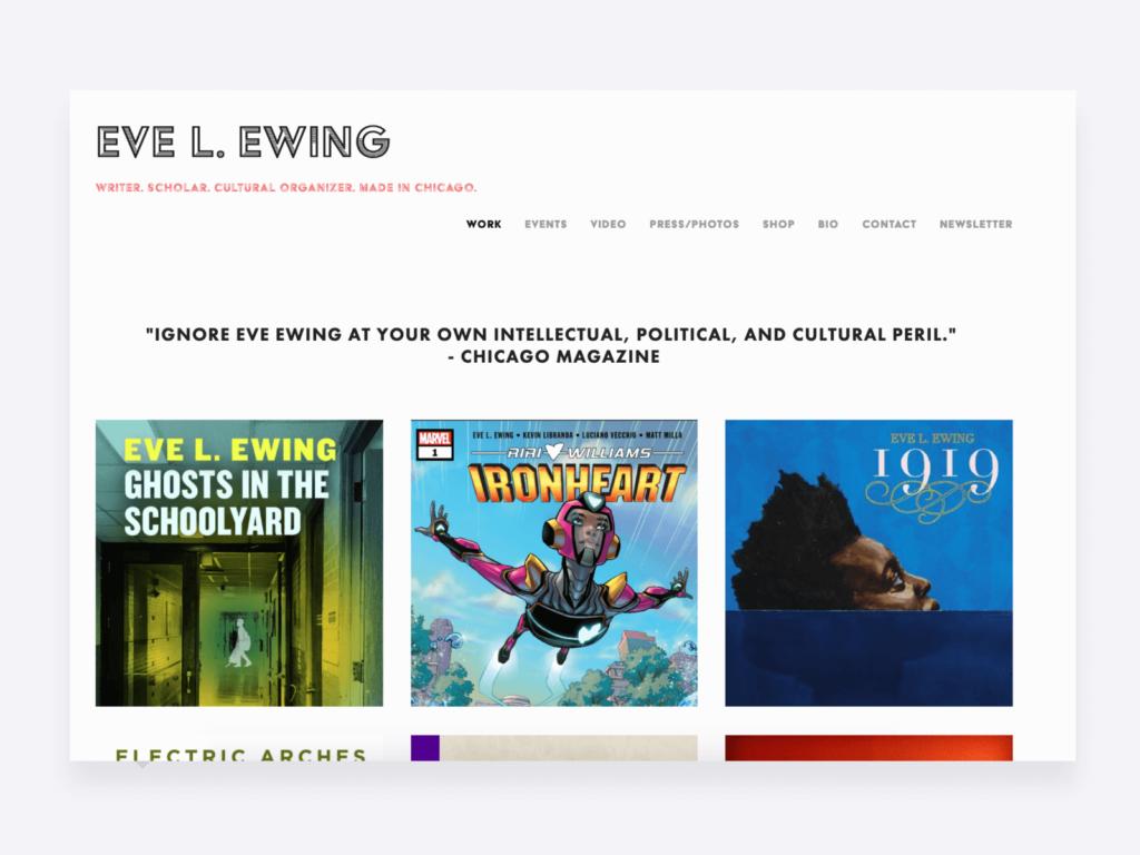 Screenshot of Eve L. Ewing's creative writing portfolio