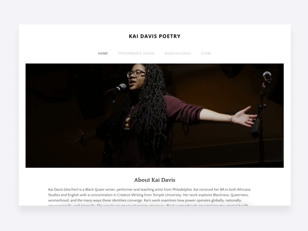Kai Davis poetry - creative writing portfolio example