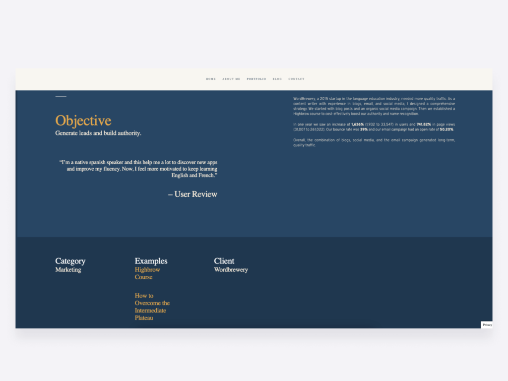 content writing case study on Kelsey Ray's writing portfolio page