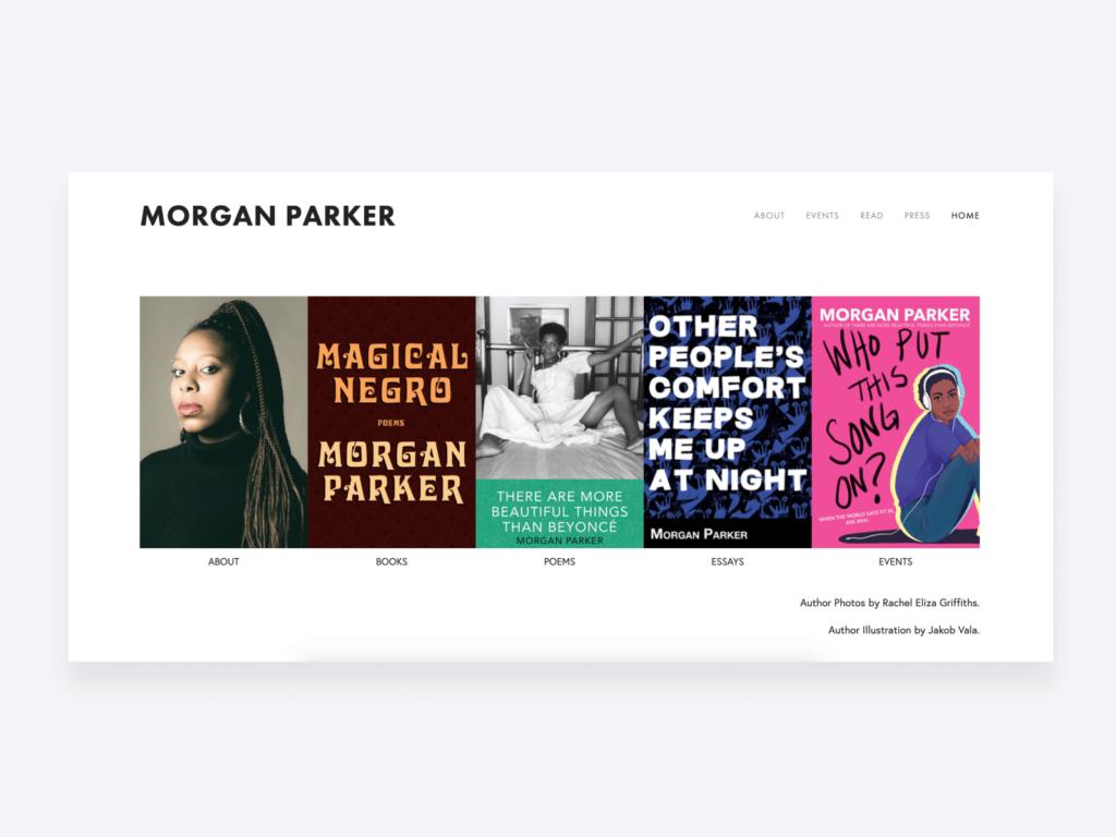 screenshot of Morgan Parker's creative writing portfolio