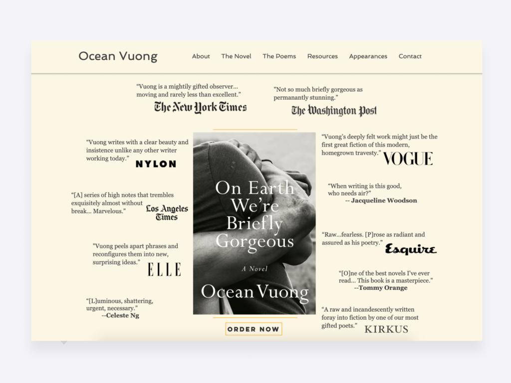 screenshot of ocean vuong's creative writing portfolio website