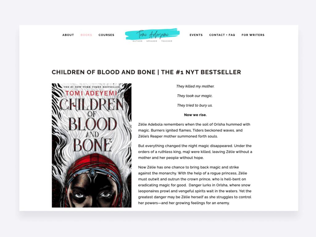 Screenshot of the creative portfolio website of bestselling author Tomi Adeymi
