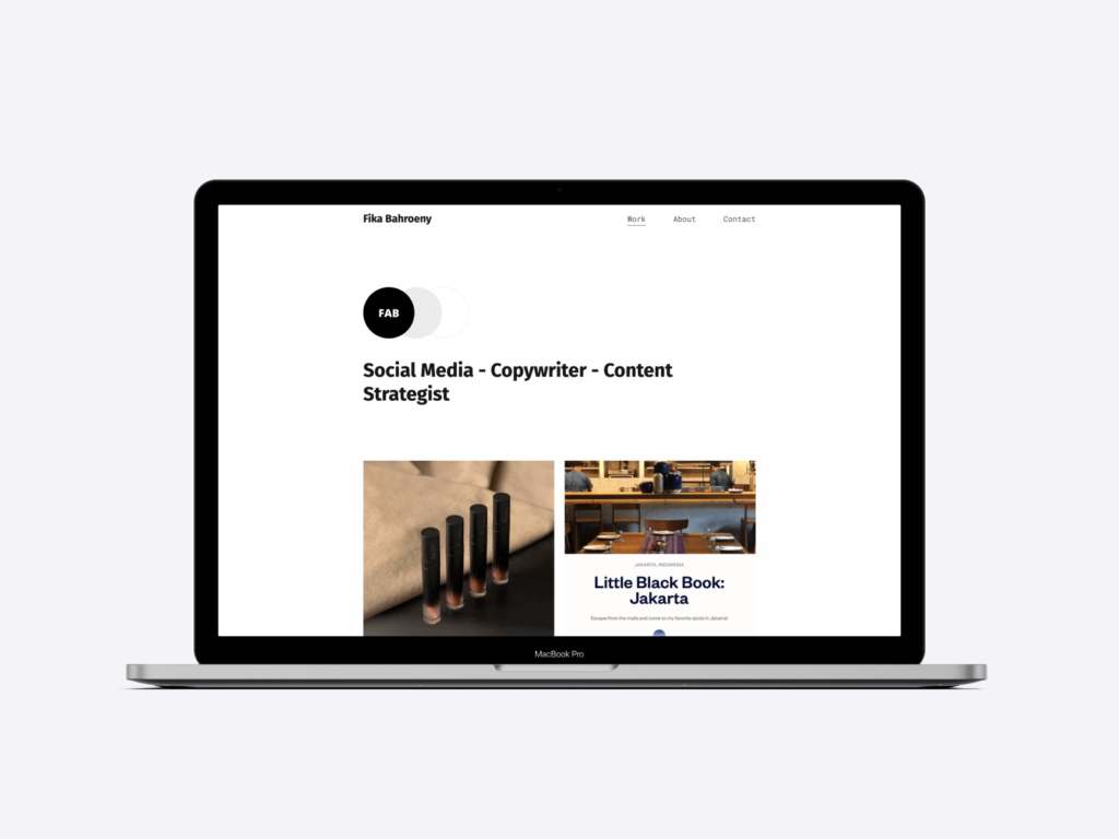 Screenshot of the writing portfolio website of copywriter and content strategist Fika Bahroeny