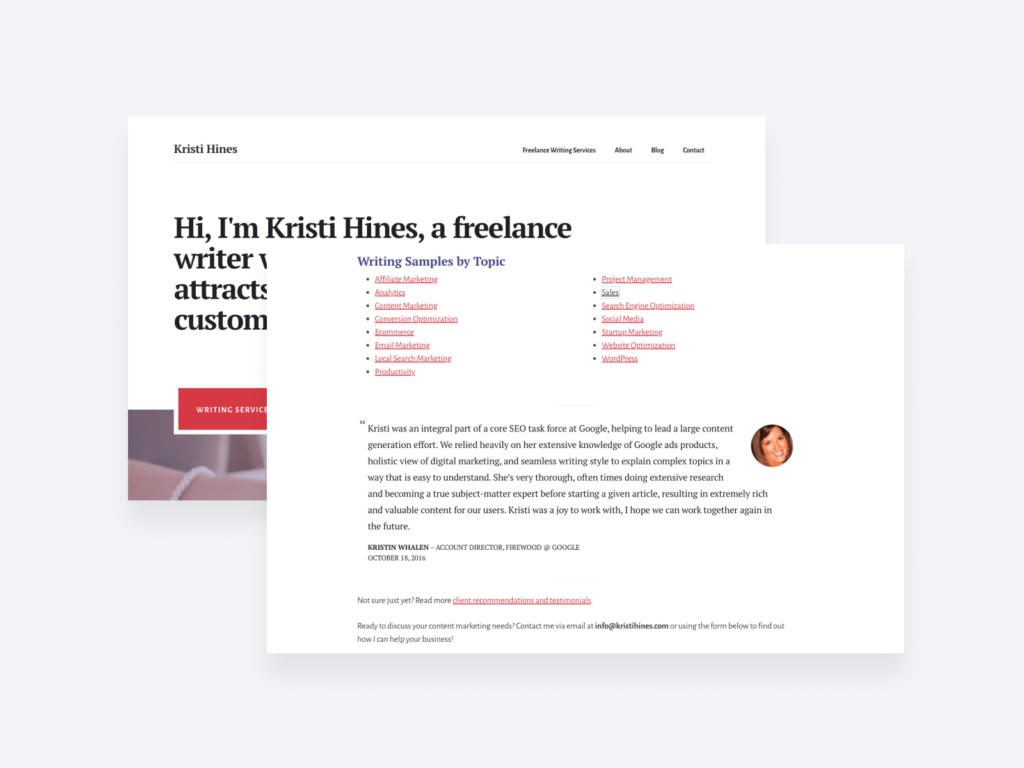 freelance writing portfolio of kristi hines