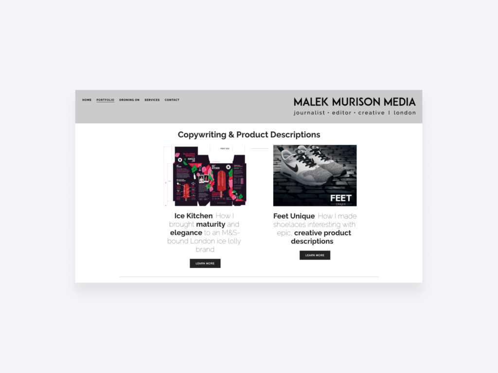 writing portfolio examples - malek murison