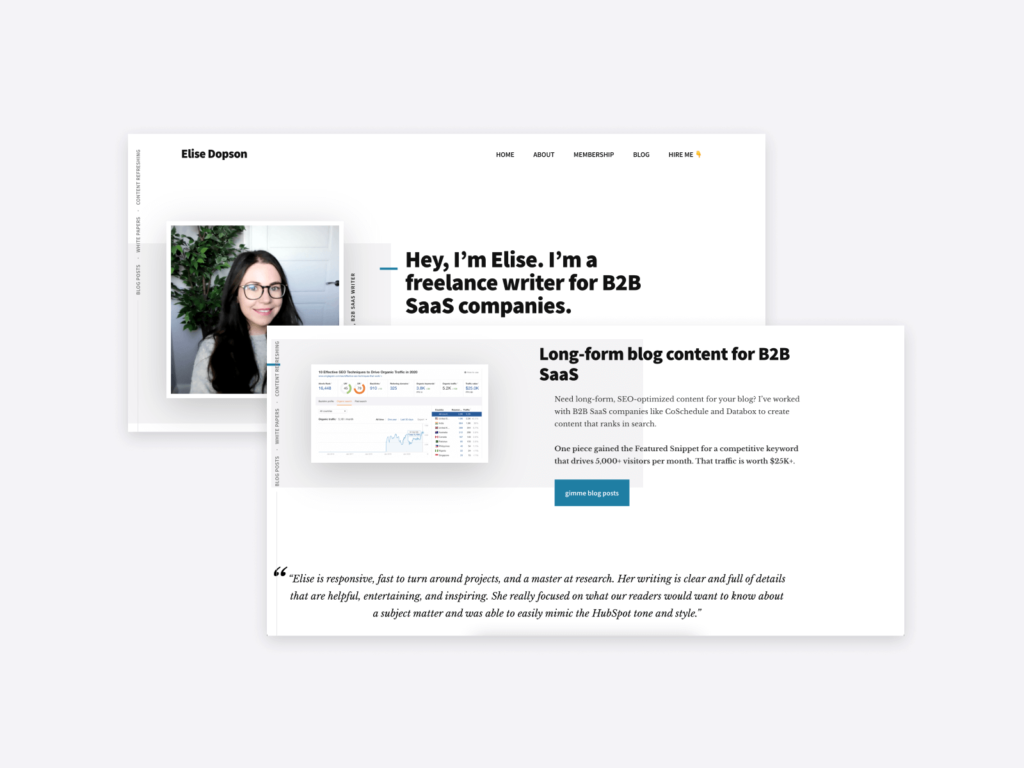 the professional writer website of elise dopson