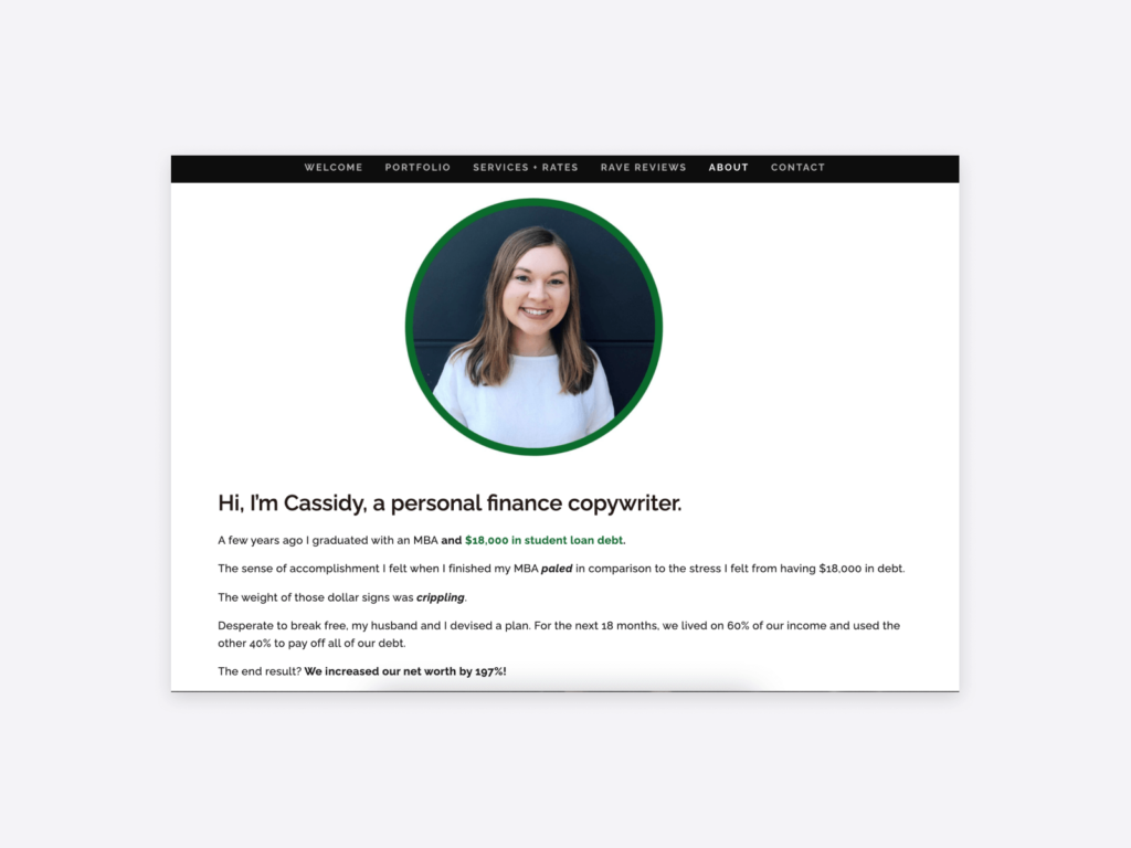 a screenshot of the page of cassidy horton as a freelance writer portfolio example