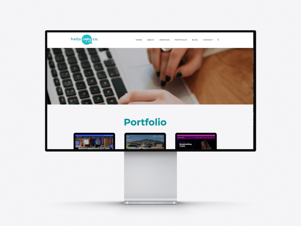 screenshot of the writer portfolio page of hello copy co