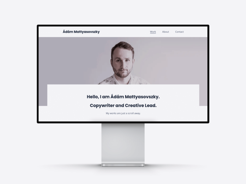 writing portfolio website examples, showing the website of a copywriter and agency creative lead
