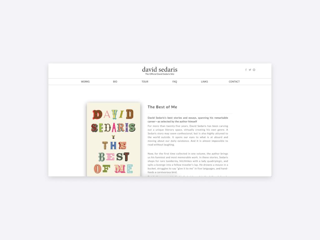 screenshot of the website of david sedaris author