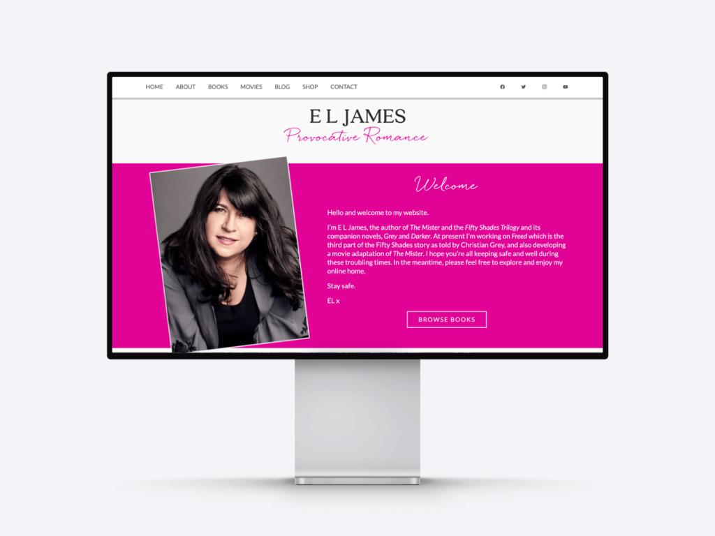 the best author websites: best-selling author E.L. James