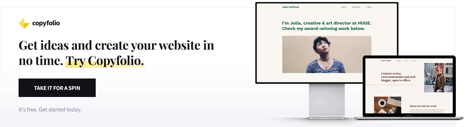 create a freelance writer website with copyfolio