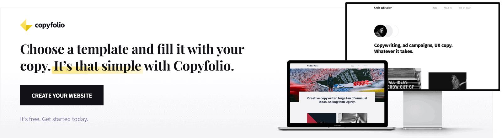 choose a writing portfolio template and create a writer portfolio website with copyfolio