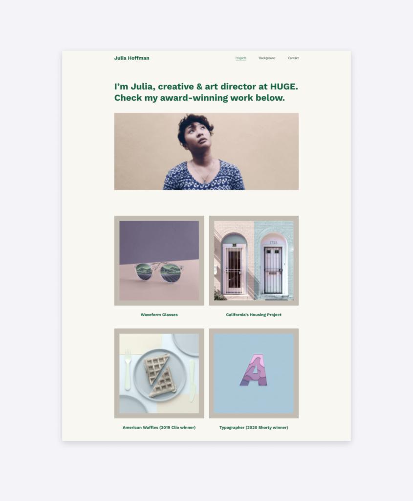 A bold and colorful portfolio template in Copyfolio called Artboard —perfect for creative directors.