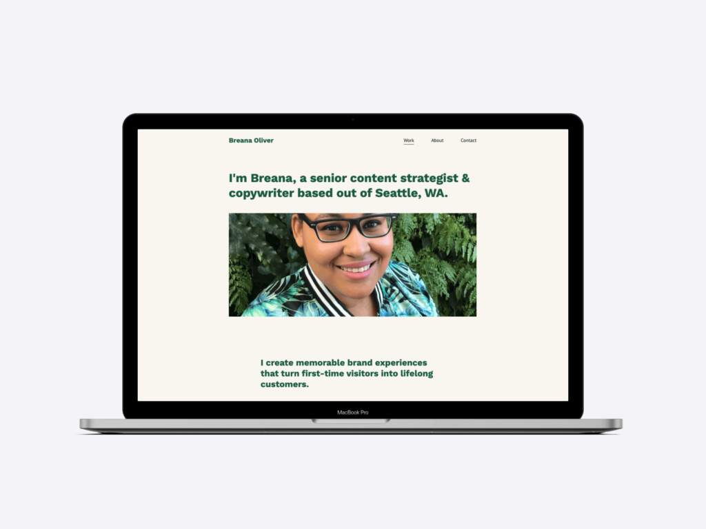 Screenshot of the portfolio website of senior content strategist and copywriter Breana Oliver. She used Copyfolio and the Artboard template to create her portfolio.