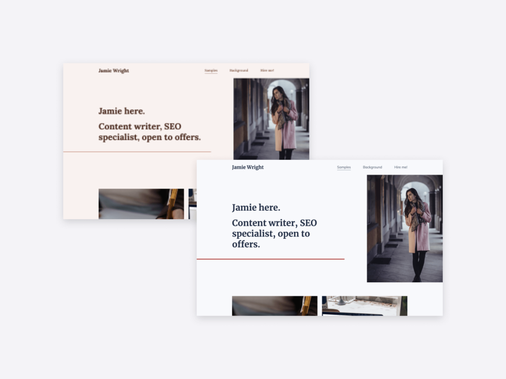 """Copyfolio's """"Journal' copywriting portfolio template, displayed with two different color and font combinations."""