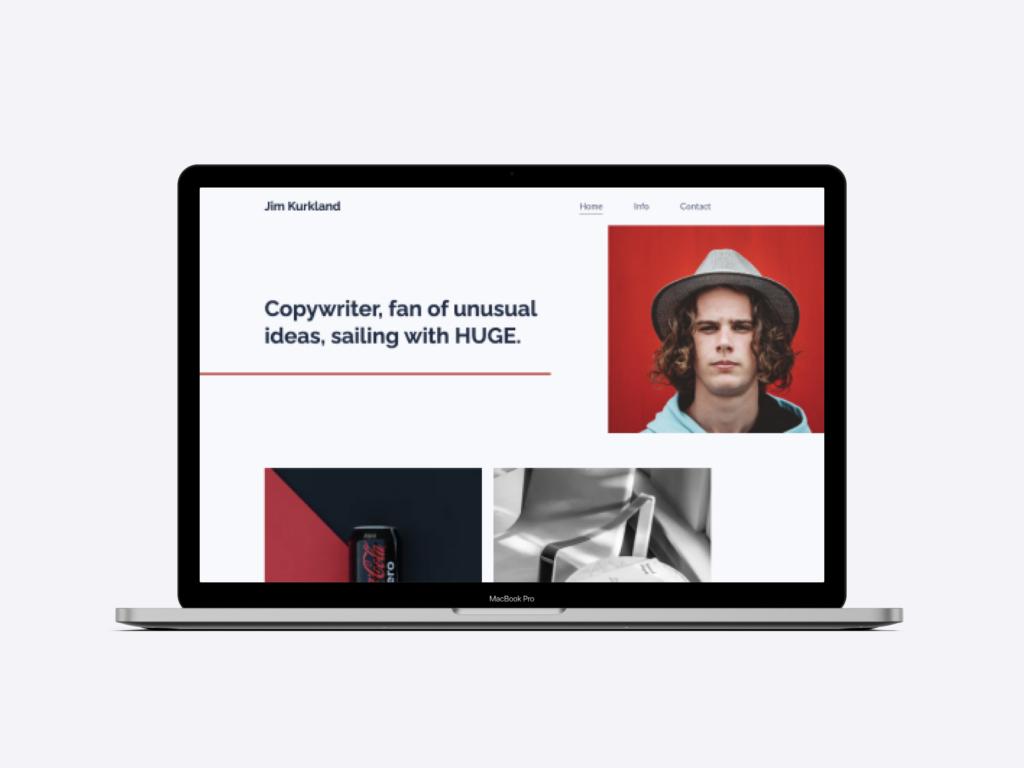 screenshot of a copywriter portfolio website using a Copyfolio template