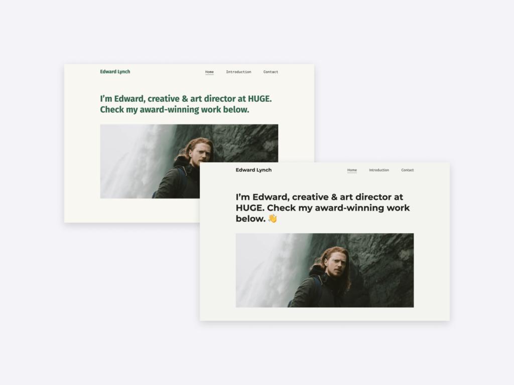 "Two different color variations for Copyfolio's ""Artboard"" portfolio template."