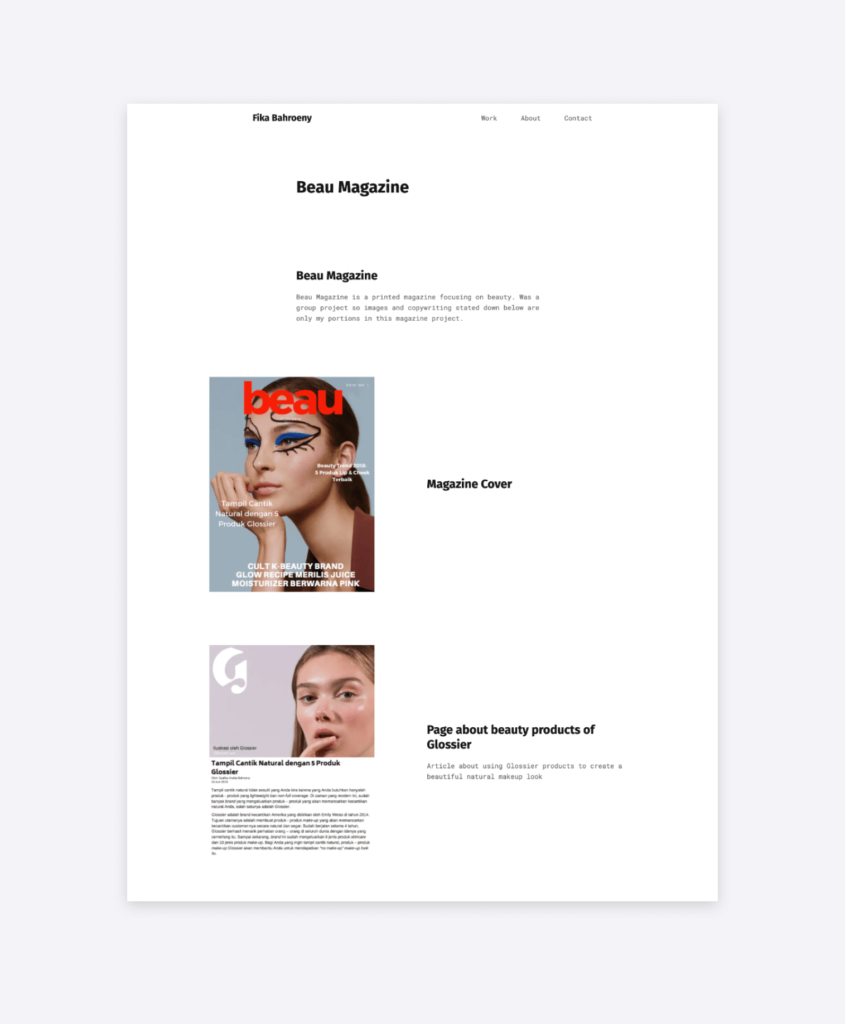 screenshot of a social media case study, on the portfolio website of fika bahroeny