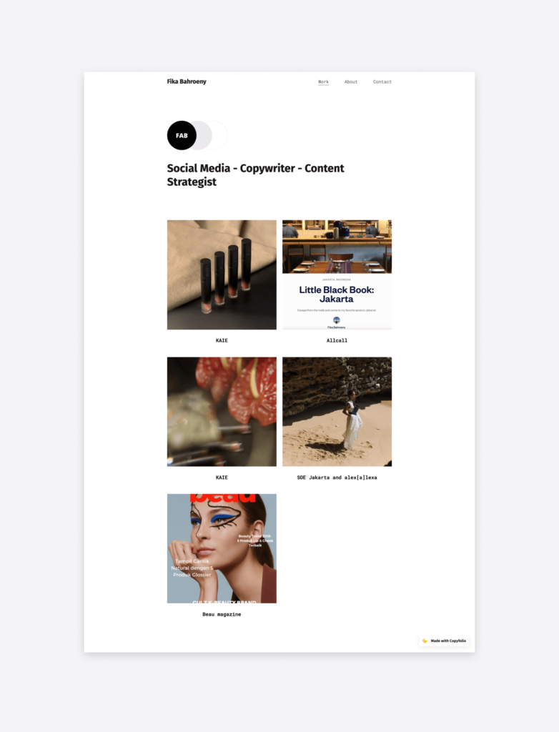 screenshot of the portfolio website of Fika Bahroeny social media specialist, made with Copyfolio