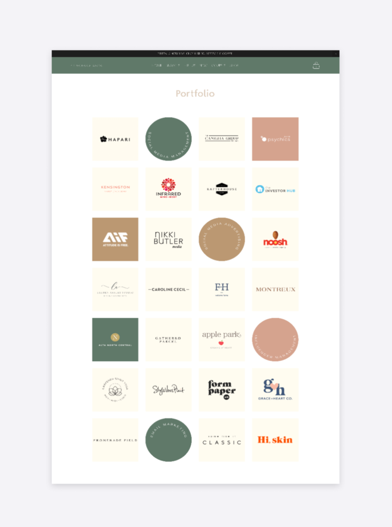 screenshot of the portfolio section of the homemade social's website