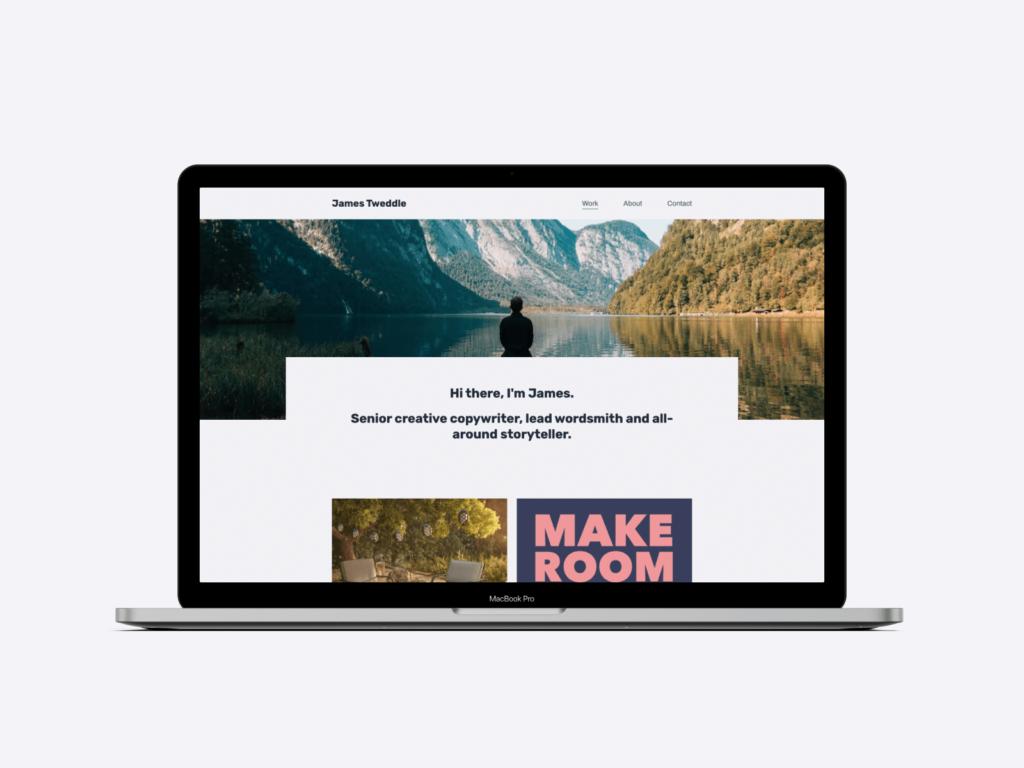 The copywriting portfolio website of senior creative copywriter James Tweddle
