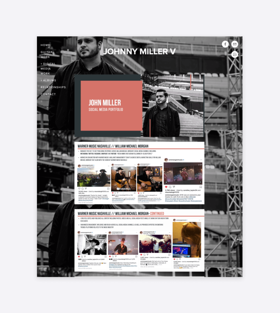examples of john miller's social media projects