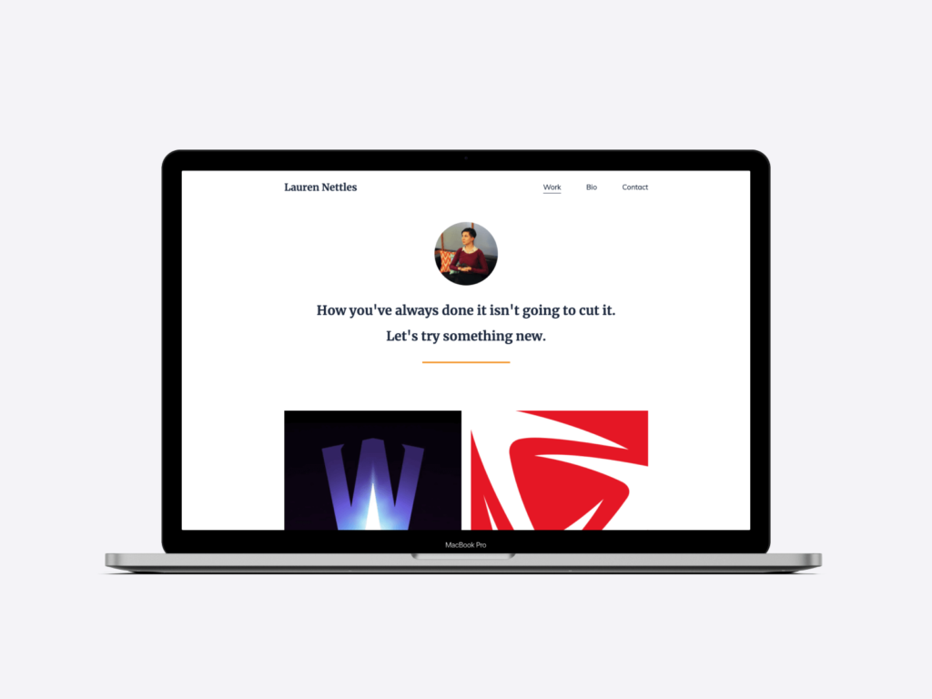 Screenshot of the portfolio website of copywriter Lauren Nettles. She created her portfolio with Copyfolio and the Letterpress template.