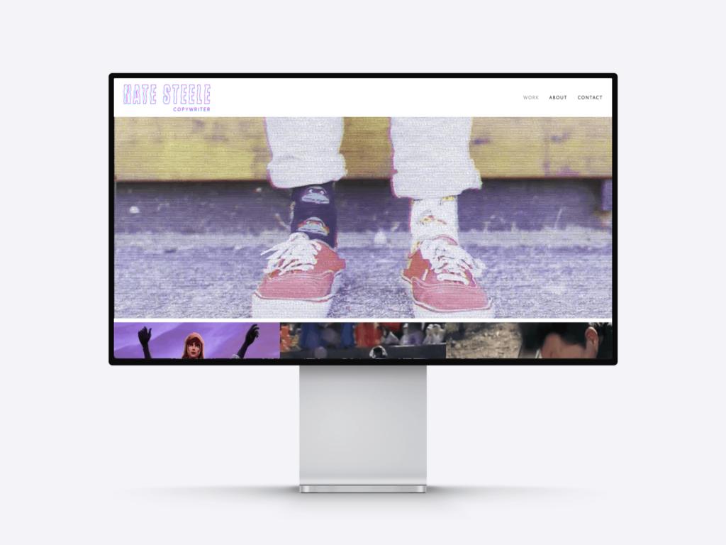 screenshot of the copywriter creative director portfolio of nate steele