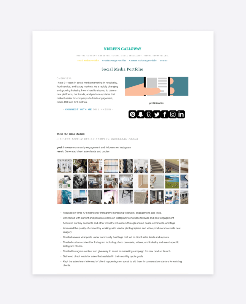 screenshot of the social media portfolio of nisreen galloway